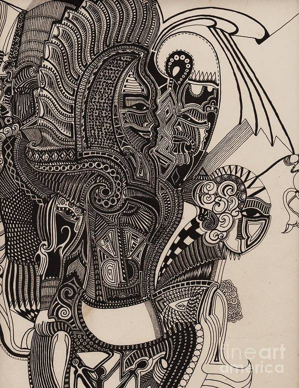 Pen Print featuring the drawing Egypt Walking by Michael Kulick