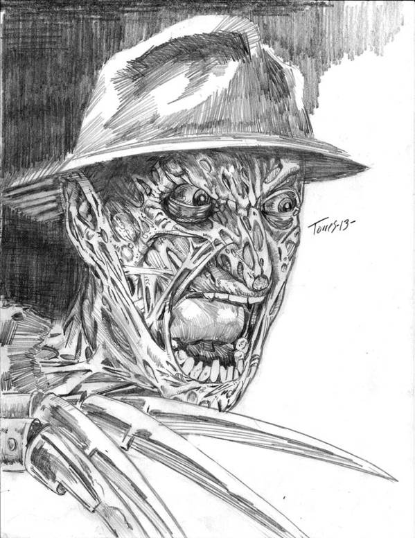 Horror Print featuring the drawing Freddy by Christopher Torres