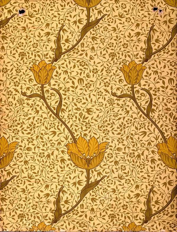 Lime Green Print featuring the tapestry - textile Garden Tulip Wallpaper Design by William Morris