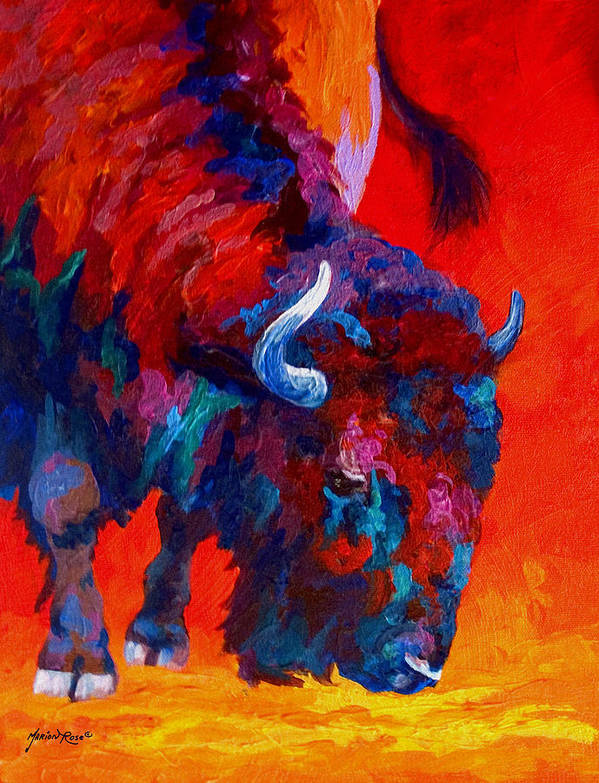 Bison Print featuring the painting Grazing Bison by Marion Rose