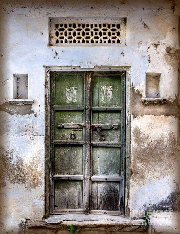 India Print featuring the photograph Green Door by Catherine Arnas