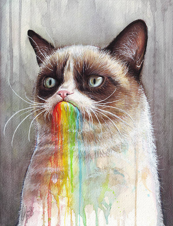 Grumpy Cat Print featuring the painting Grumpy Cat Tastes The Rainbow by Olga Shvartsur