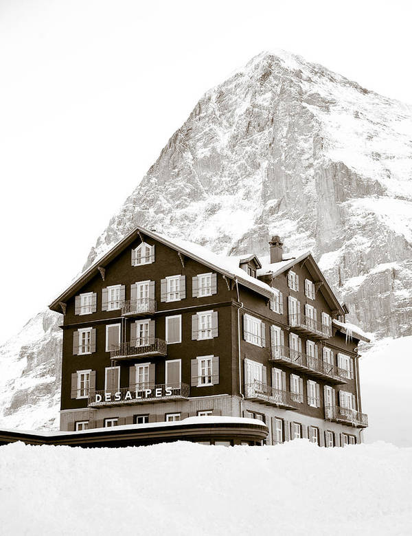 Hotel Des Alpes Print featuring the photograph Hotel Des Alpes And Eiger North Face by Frank Tschakert
