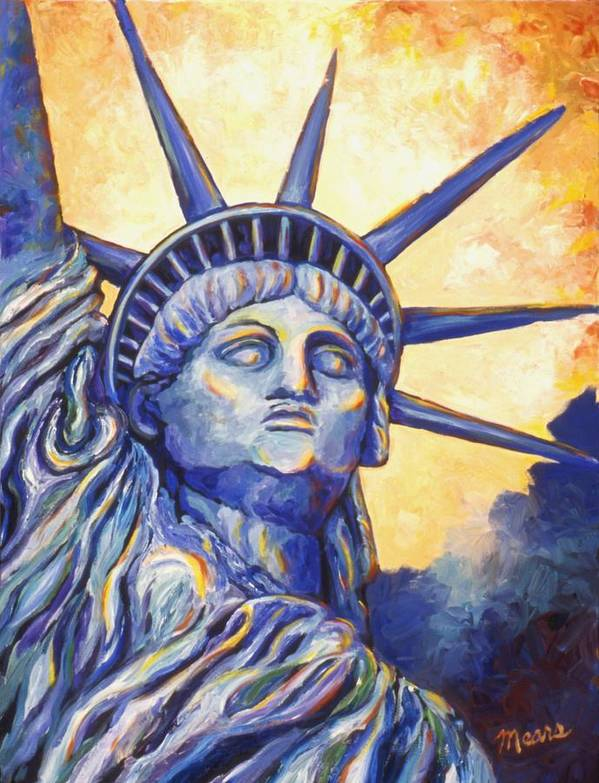 Statue Of Liberty Print featuring the painting Lady Liberty by Linda Mears