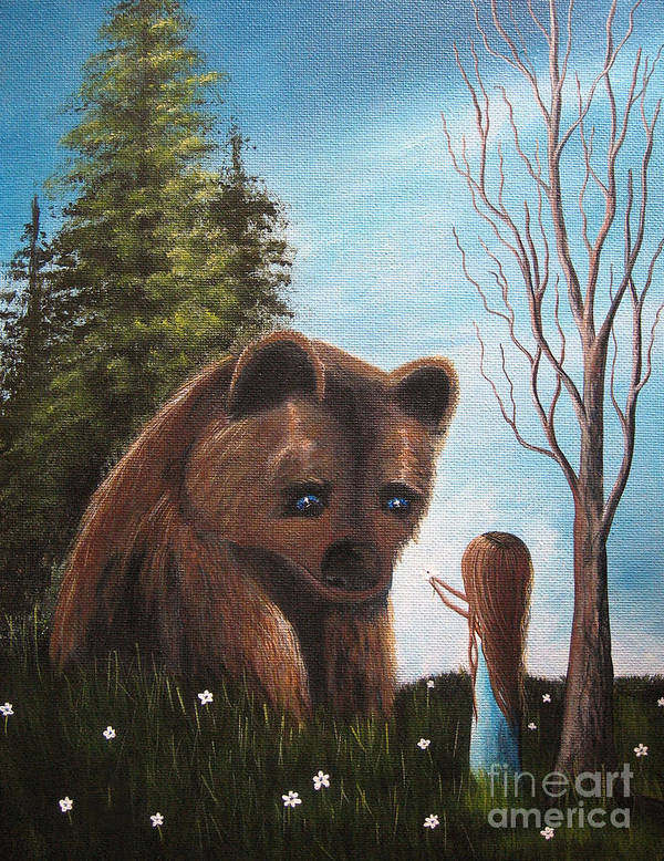 Bear Print featuring the painting Loving All God's Creatures By Shawna Erback by Shawna Erback