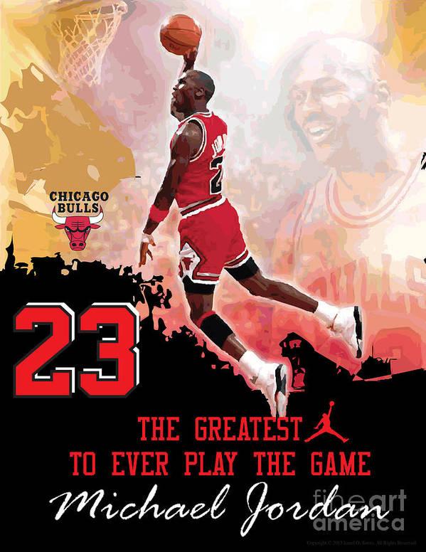 Michael Jordan Print featuring the digital art Michael Jordan Greatest Ever by Israel Torres