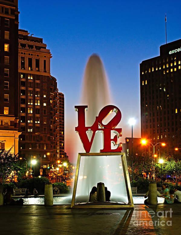America Print featuring the photograph Philadelphia Love Park by Nick Zelinsky