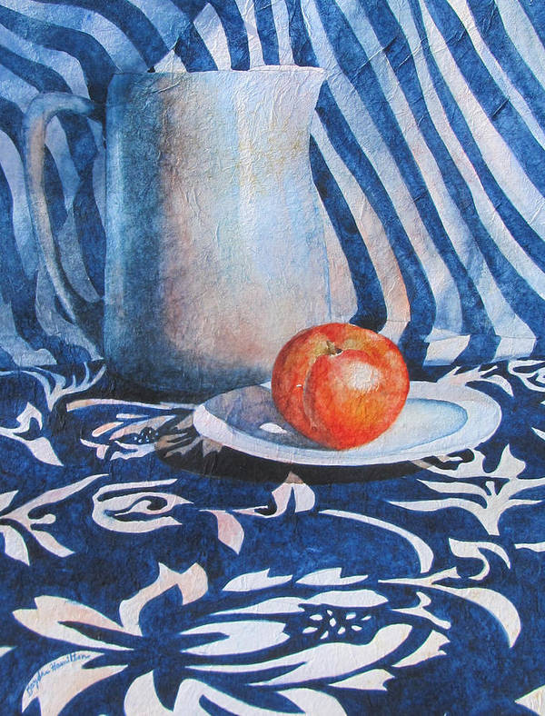 Pitcher Print featuring the painting Pitcher With Fruit by Daydre Hamilton