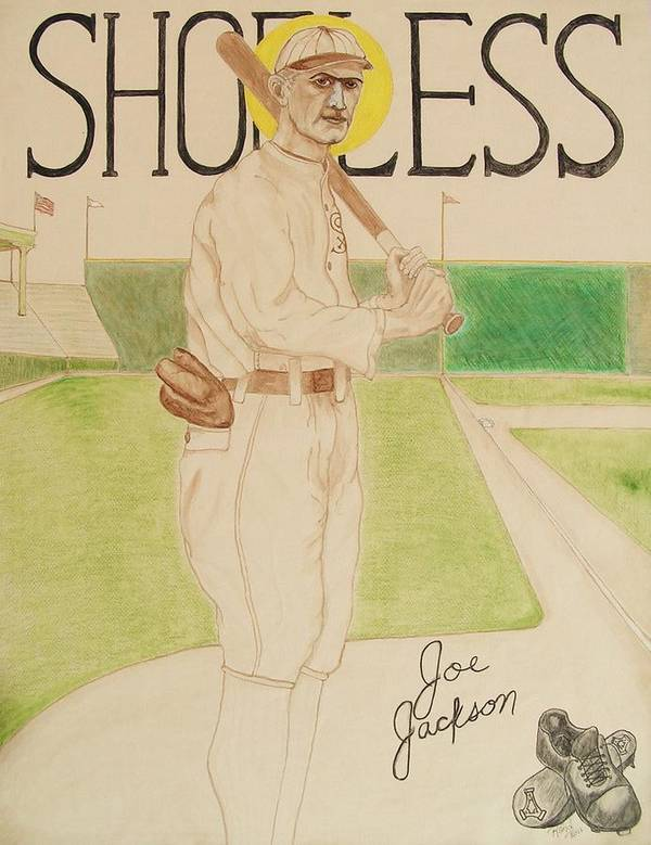 Shoeless Print featuring the painting Shoeless Joe Jackson by Rand Swift