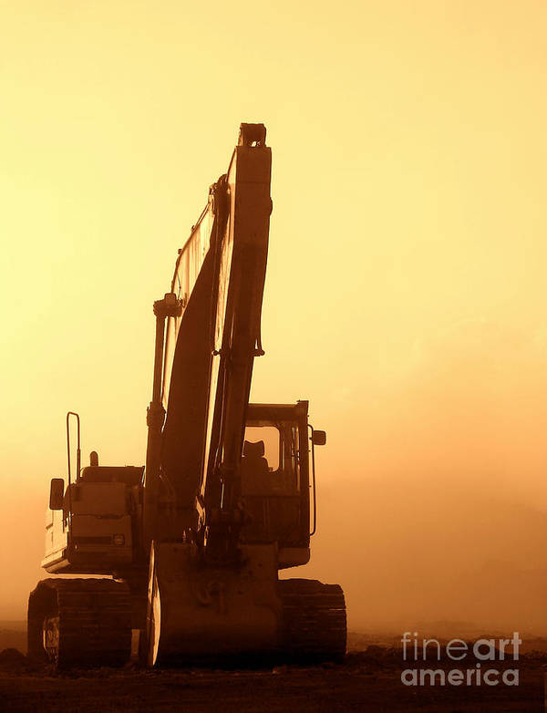 Excavator Print featuring the photograph Sunset Excavator by Olivier Le Queinec