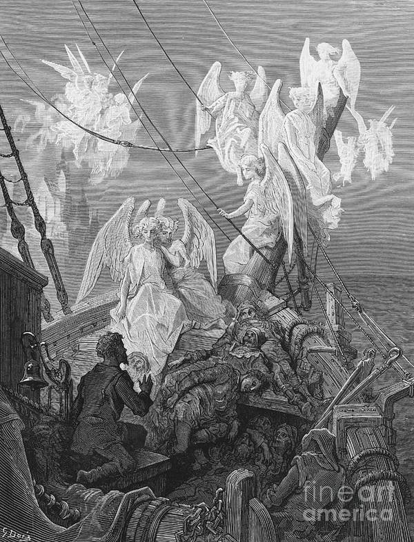 Angels; Ship; Vessel; Sailors; Dore Print featuring the drawing The Mariner Sees The Band Of Angelic Spirits by Gustave Dore