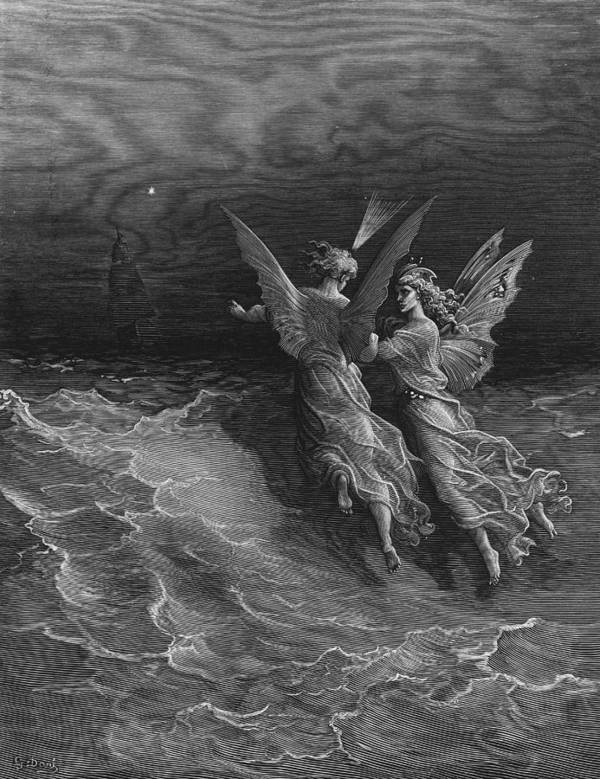 Vessel; Sea; Angels; Dore Print featuring the drawing The Two Fellow Spirits Of The Spirit Of The South Pole Ask The Question Why The Ship Travels by Gustave Dore