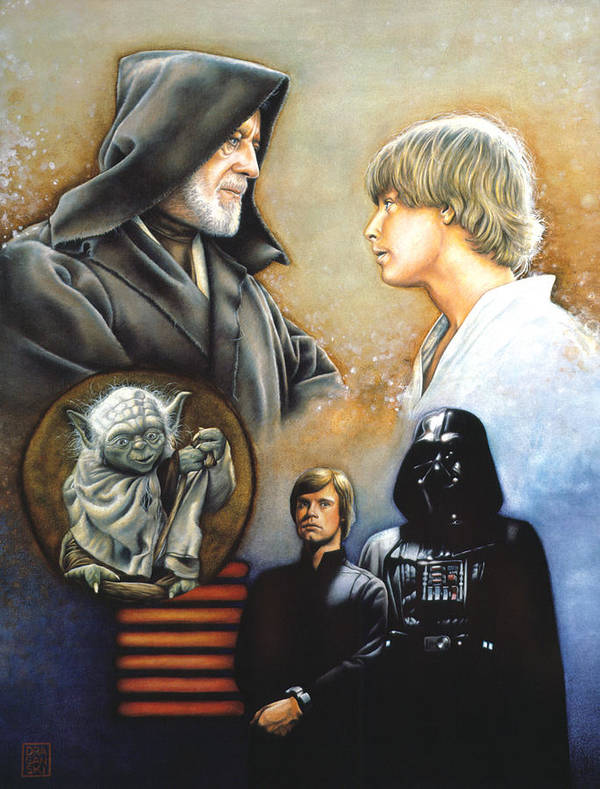 Star Wars Print featuring the drawing The Way Of The Force by Edward Draganski