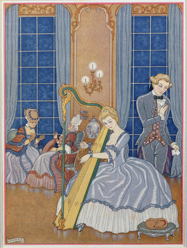 Stencil Print featuring the painting Valmont Seducing His Victim by Georges Barbier
