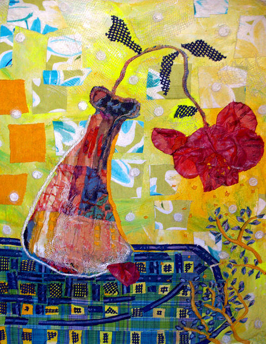 Flower In A Vase Print featuring the mixed media Wilting Rose by Diane Fine