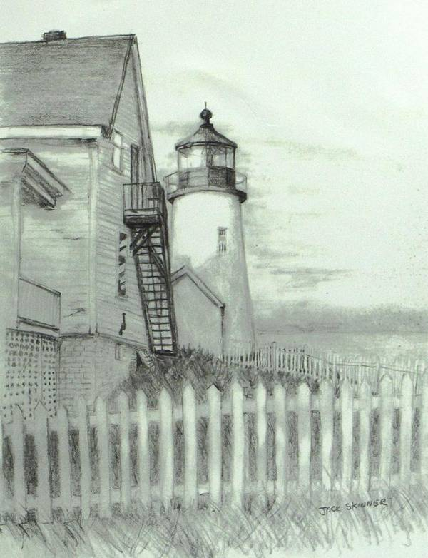 Pemaquid Lighthouse Print featuring the drawing Pemaquid Lighthouse by Jack Skinner