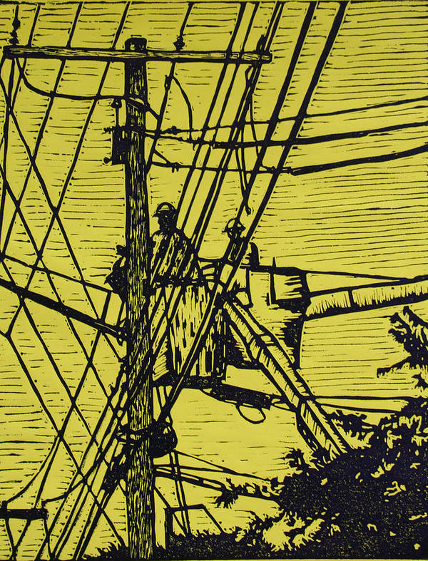 Powerlines Print featuring the drawing Working On Lines by William Cauthern
