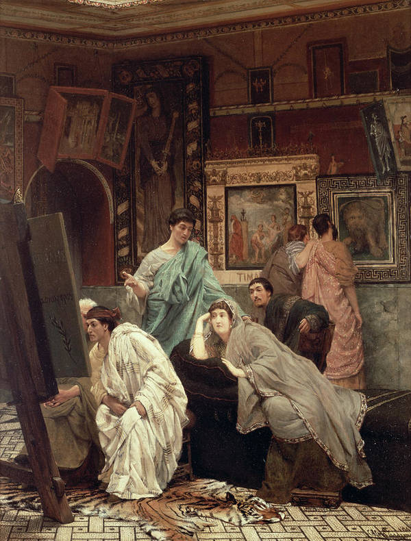 Collector Print featuring the painting A Collector Of Pictures At The Time Of Augustus by Sir Lawrence Alma-Tadema