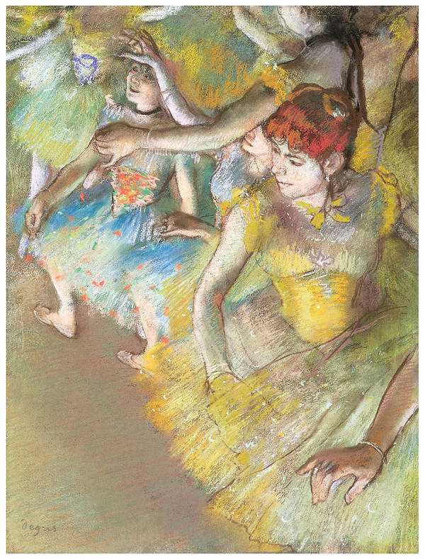 Ballet Dancers On The Stage Print featuring the pastel Ballet Dancers On The Stage by Edgar Degas