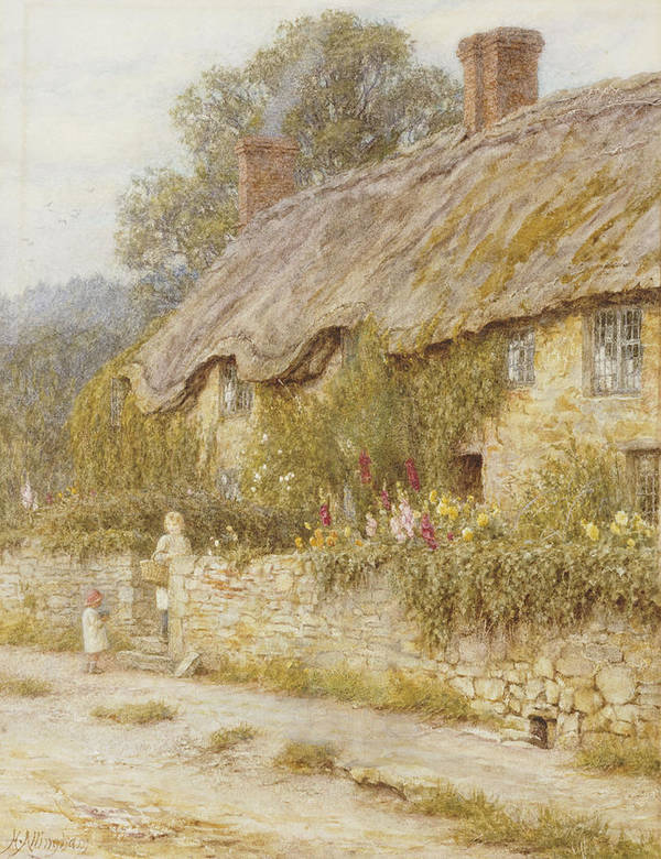 Cottage Near Wells Print featuring the painting Cottage Near Wells Somerset by Helen Allingham