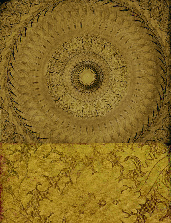 Abstract Art Print featuring the mixed media Gold Wheel I by Ricki Mountain