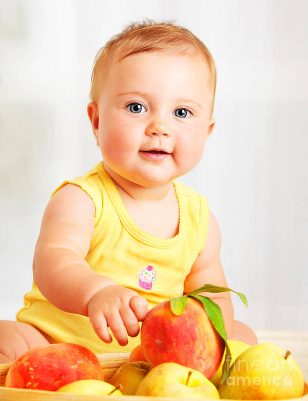 Apple Print featuring the photograph Little Baby Choosing Fruits by Anna Om