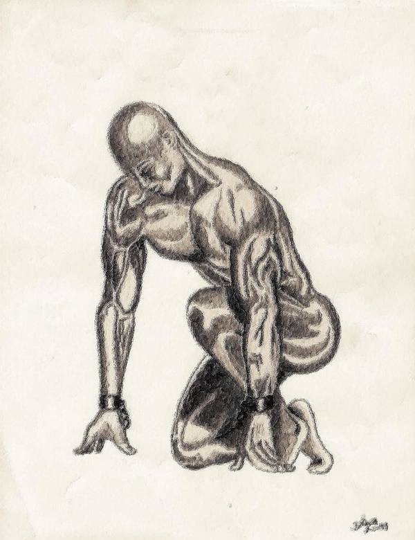 Black Print featuring the drawing Naked Man by Shawn Williams