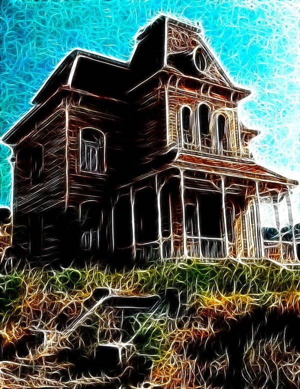 Psycho Print featuring the painting Psycho House by Paul Van Scott