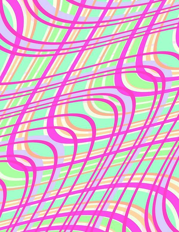 Swirly Check Print featuring the digital art Swirly Check by Louisa Knight