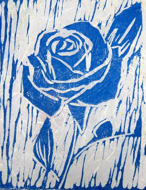 Blue Rose Print featuring the relief The Blue Rose by Marita McVeigh