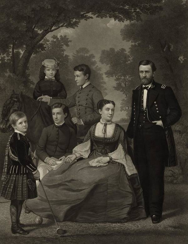 History Print featuring the photograph Ulysses S. Grant With His Family When by Everett