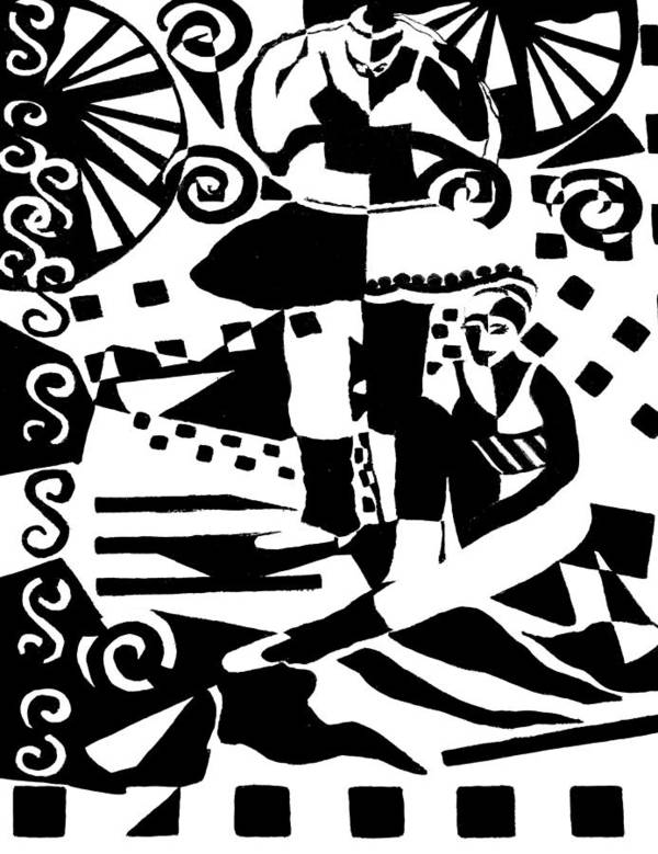 Two Dancers Print featuring the painting Warming Up - Dance I by Forartsake Studio
