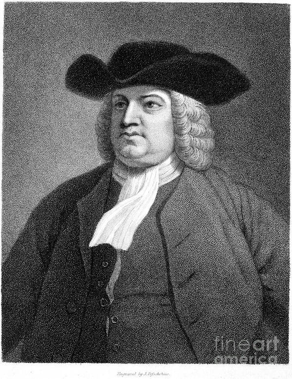 17th Century Print featuring the photograph William Penn (1644-1718) by Granger