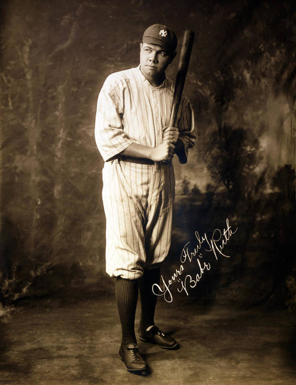 1920s Print featuring the photograph Babe Ruth, 1920 by Everett