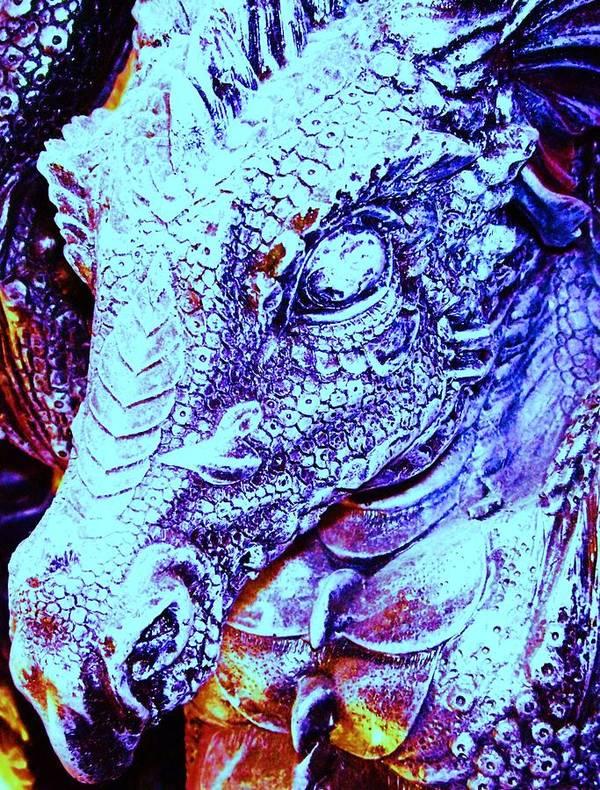 Dinosaur Print featuring the digital art Blue-dragon by Ramon Labusch