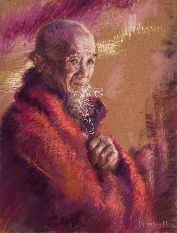 Monk Print featuring the pastel Portrait Of A Monk by Ellen Dreibelbis