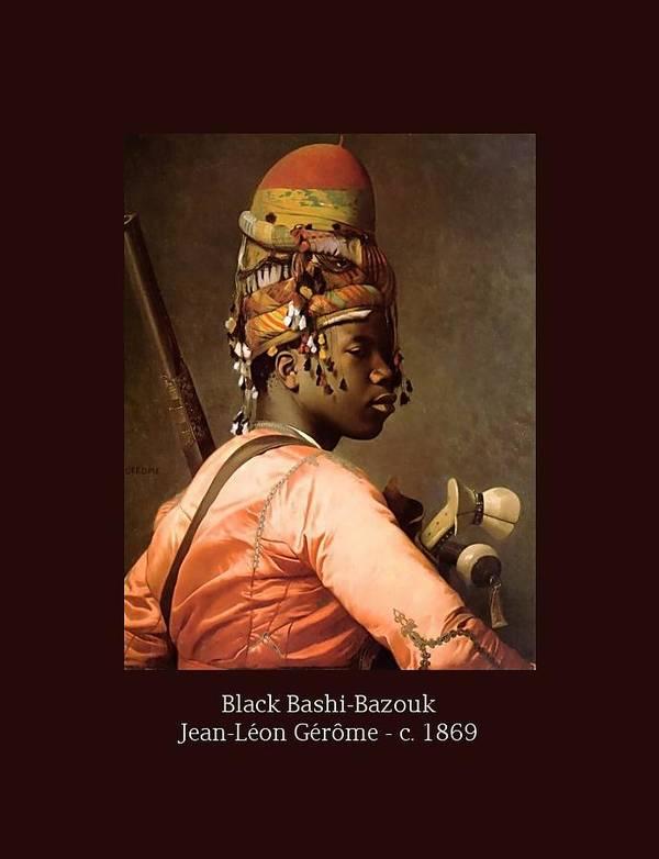 Jean-leon Gerome Print featuring the painting Black Bashi-bazouk - C. 1869 by Jean-Leon Gerome