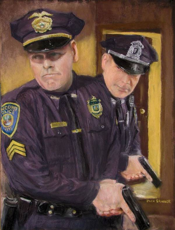 Law Enforcement Print featuring the painting Go On Three...1....2.... by Jack Skinner