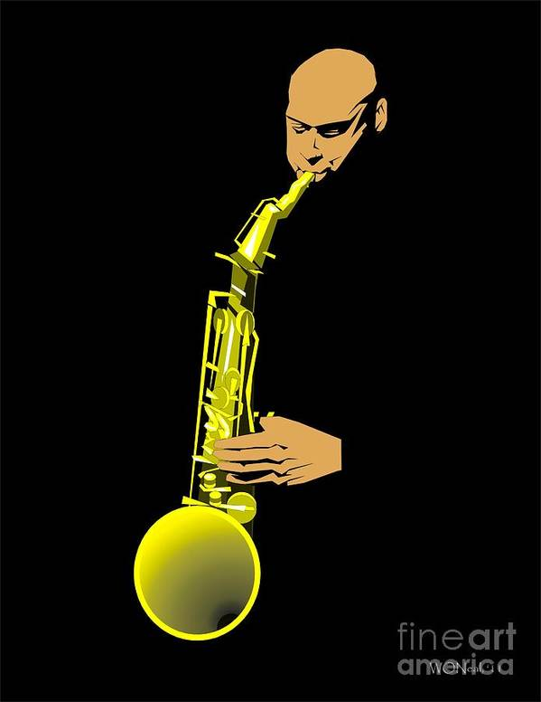 Portraits Print featuring the digital art Joshua Redman by Walter Oliver Neal