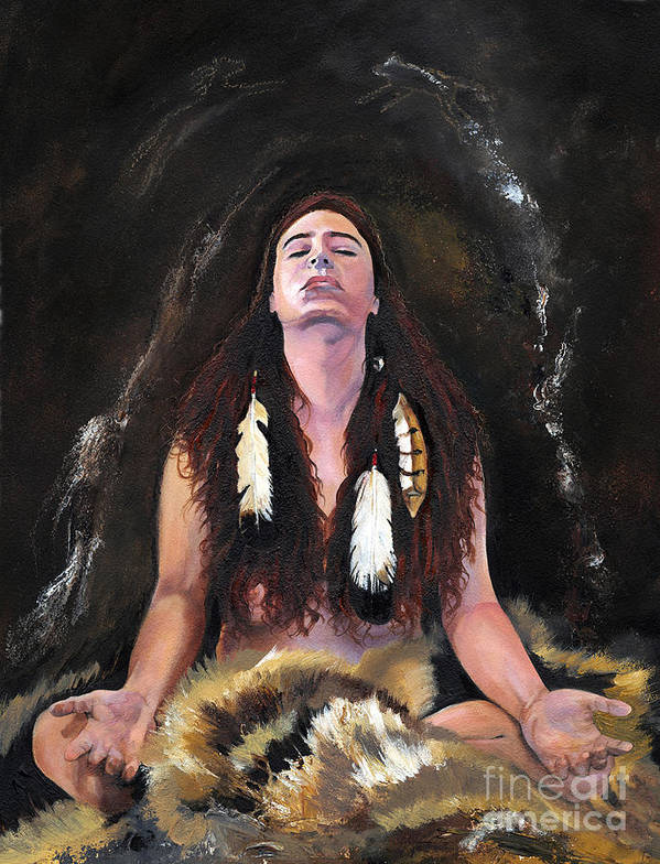 Southwest Art Print featuring the painting Medicine Woman by J W Baker