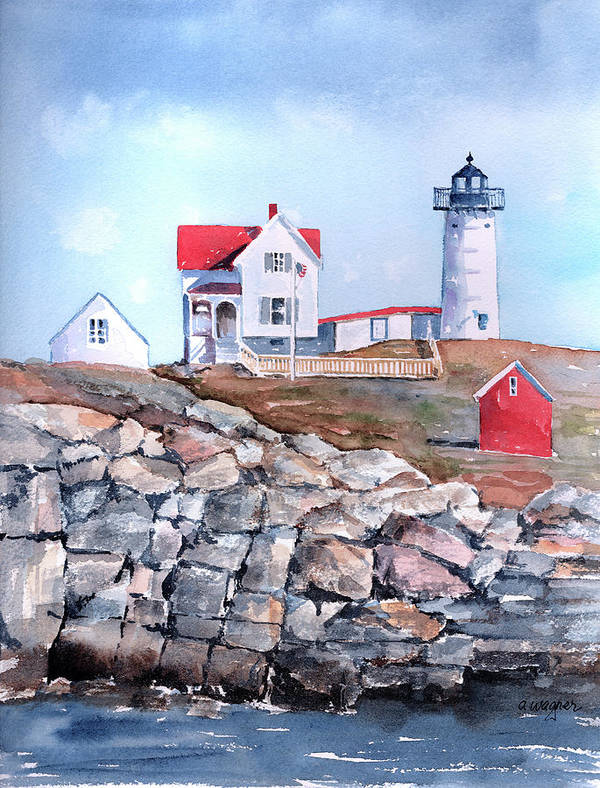 House Print featuring the painting Nubble Lighthouse - Maine by Arline Wagner