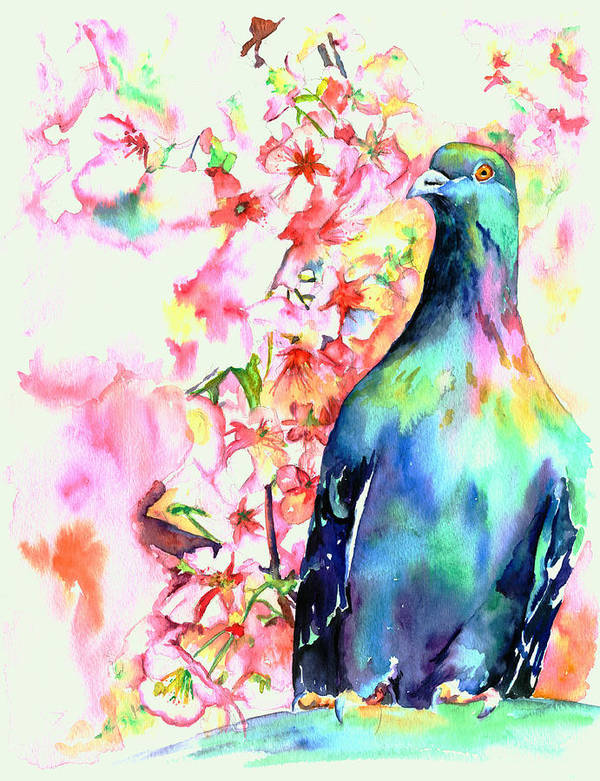Pigeon Print featuring the painting Pigeon Eye by Christy Freeman