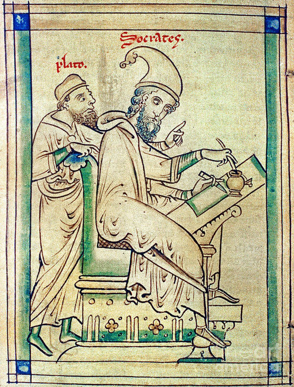 13th Century Print featuring the photograph Plato With Socrates by Granger