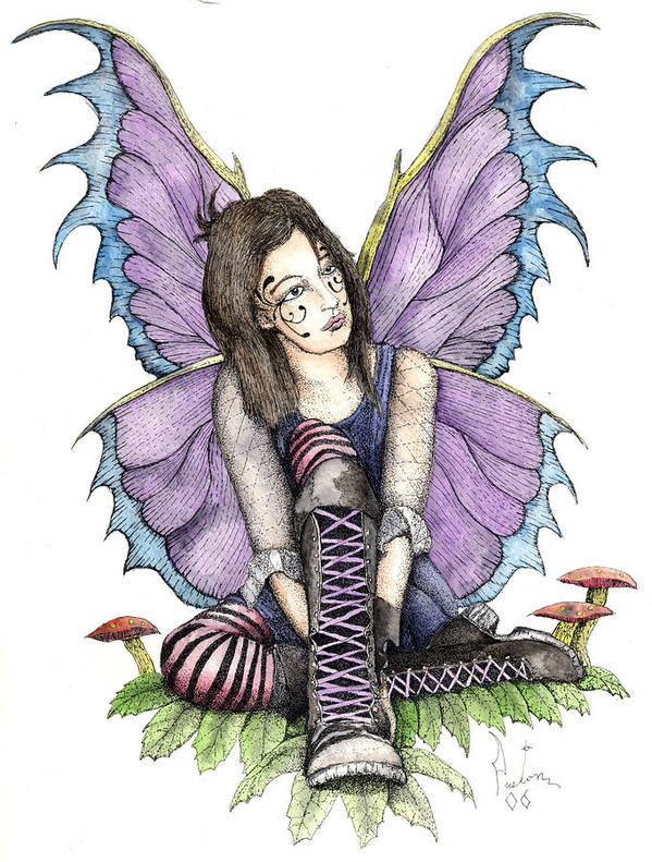 Gothic Fairy Print featuring the painting Purple Laces by Preston Shupp