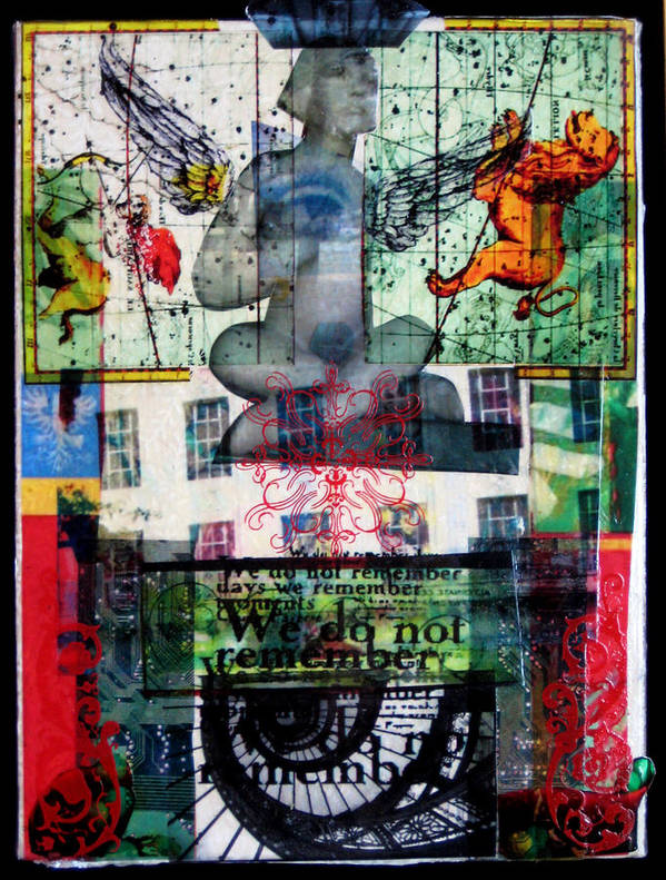 Angel Print featuring the mixed media Remember Automatic Recall by Liz London