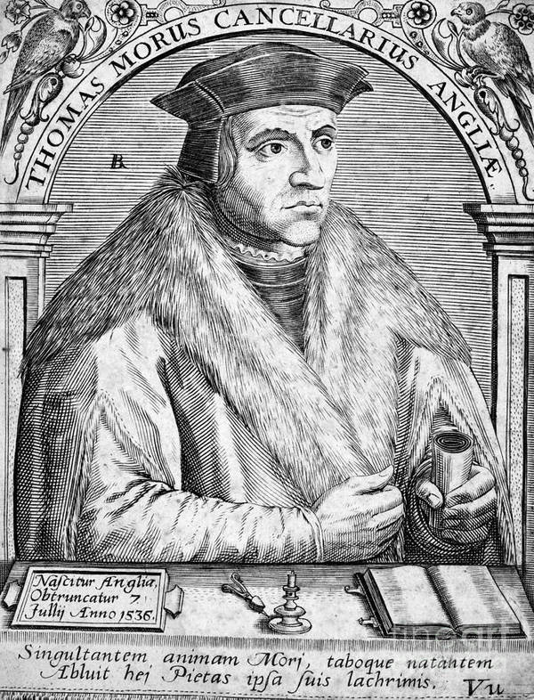 16th Century Print featuring the photograph Sir Thomas More (1478-1535) by Granger