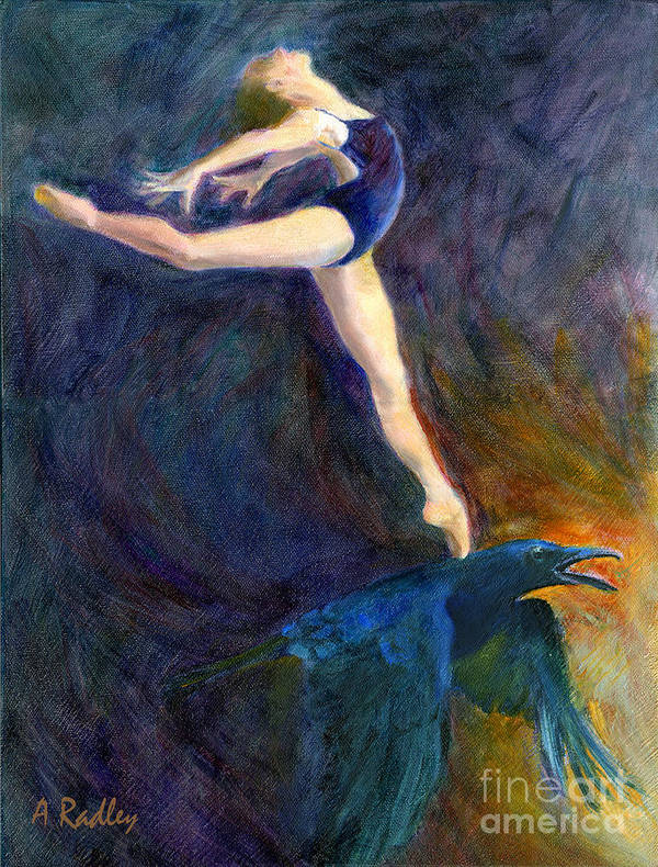 Raven Dance Dancer Sky Ballet Spirit Guide Heaven Light Figurative Bird Crow Ballerina Oil Pointe Shoes Ballet Slippers Mythology Sunrise Arabesque Transformation Animal Wildlife Leotard Print featuring the painting Spring To Heaven by Ann Radley