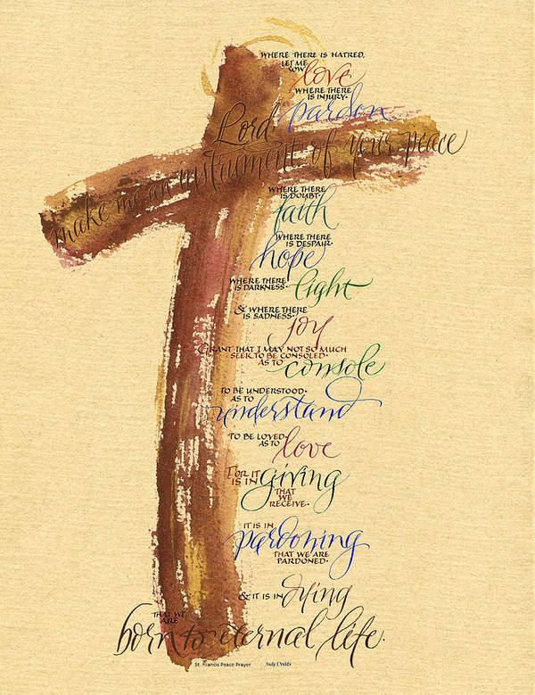 Bible Print featuring the painting St Francis Peace Prayer by Judy Dodds