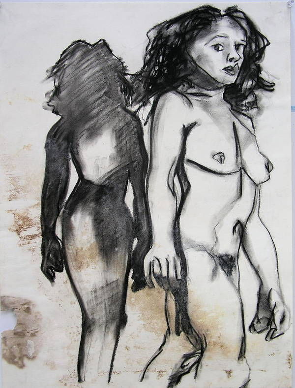Charcoal Print featuring the drawing Startled by Brad Wilson