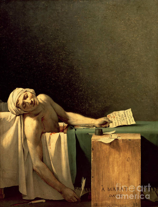 The Print featuring the painting The Death Of Marat by Jacques Louis David